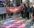 [17 August 2017] Protesters in Chile burn US flag during US Vice President visit - English