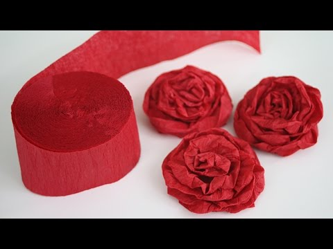 How to Make Twisted Crepe Paper Roses - English