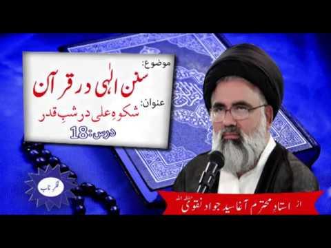 [Sunan Ilahi Dar Quran] Topic: Shkwa e Ali Dar Shab e Qadr By Ustad Syed Jawad Naqvi Dars 18 2018 Urdu