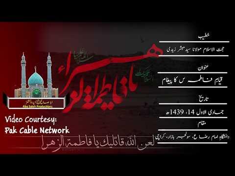 CLIP| قیامِ فاطمہ سلام الله علیہا کا پیغام | H.I. Maulana Syed Mubashir Zaidi | urdu
