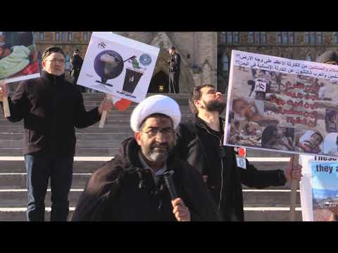 Ottawa Mark 4th year of Illegal war on Yemen  Sheikh Shafiq Huda speaks infront of Parliament Hill Ottawa Canada -Englis