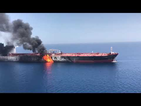 [13 June 2019] Aerial footage shows one of the oil tankers targeted in the Sea of Oman - English