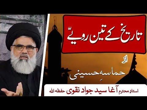 [Clip19] Topic:Hamasa e Husaaini Tareekh  kay 3 rawaiay | Ustad Syed Jawad Naqvi 2019 Urdu
