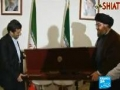 Hezbollah leader Nasrallah gives Ahmadinejad a Israeli soldiers rifle - 15 OCT 2010 - English