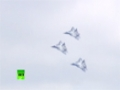 Russian Stealth first group flight PAK-FA T-50 fighters at MAKS airshow - English