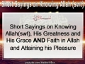 Short Sayings on Knowing Allah His Greatness and His Grace English